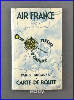 Air France Paris Bucarest Vintage Airline Route Map Carte De Route