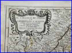 Alsatia Bavaria France Germany 1678 Rossi-cantelli Da Vignola Large Antique Map