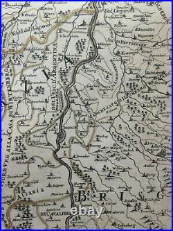 Alsatia France 1690 Giacomo De Rossi-cantelli Da Vignola Very Large Antique Map