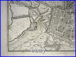 Amiens (france) 1716 Nicolas De Fer Antique Engraved Plan 18th Century