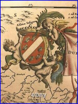 Ant Map Frederik de Wit after Blaeu of Alsatia (Alsace, France) Circa 1680s