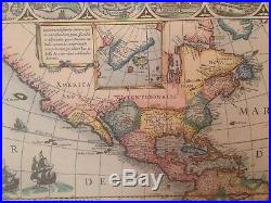 Antique 1622 Map North & South America MBM Made In France Ingres D' Arches