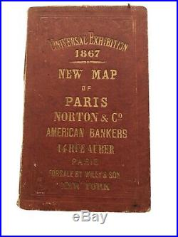 Antique 1867 CLEROT UNIVERSAL EXHIBITION Paris WORLD'S FAIR Book with Full MAP