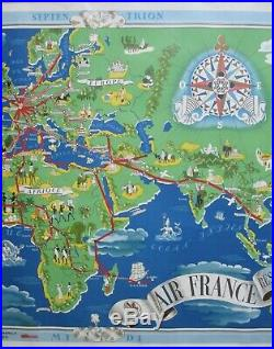 Antique 1937 Lucien Bouchard AIR FRANCE Roseau Aerien Mondia Aviation Map Poster