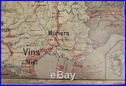 Antique Carte Affiche old map Vidal Lablache 8 et 8 bis France Agriculture