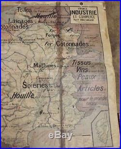 Antique Carte école Affiche old map Vidal Lablache 8 et 8 bis France Agriculture