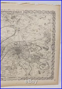 Antique Colton's Atlas Map Environs of Paris France 1855