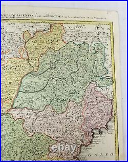 Antique Early Hand Colored 17th Century Map Southern France French Riviera