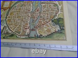 Antique French Map Lvtetia Paris 1575 with Lana Watermark