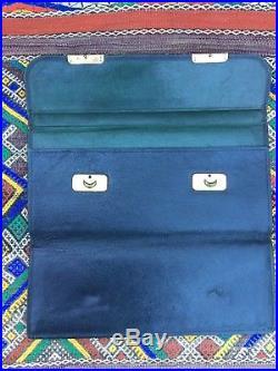 Antique Green Leather Portfolio Document Holder With Brass Closures Map Case