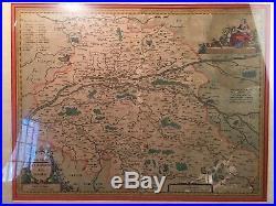 Antique Jansonius Map 1638 Touraine, Turonen Sis Ducatus France Hand Colored