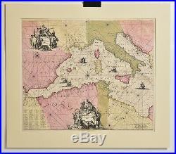 Antique MAP 1715 De WIT, Reynard, Occidentalior Tractus, Mediterranean Sea Chart