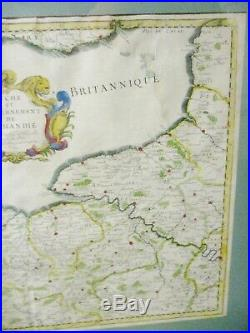 Antique Map 1650 Normandie France Engraving Cordier Nicolas Sanson Hand Colored