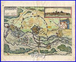 Antique Map-BENFELD-FRANCE-FORT-SIEGE-WAR-Merian-1650