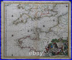 Antique Map-CHANNEL-ENGLAND-FRANCE-SEA CHART-Jaillot-c. 1680