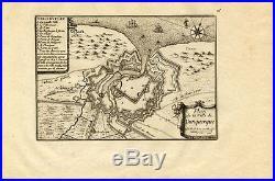 Antique Map-CITY-FORTIFICATION-DUNKERQUE-DUNKIRK-FRANCE-Beaulieu-1667