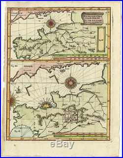 Antique Map-ENGLISH CHANNEL-FRANCE-ENGLAND-Scherer-c. 1700