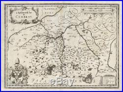Antique Map-FRANCE-CAMBRAI-CAMBRESIS-Hondius-1636