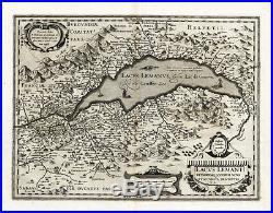 Antique Map-FRANCE-LAKE GENEVA-Hondius-Janssonius-1636
