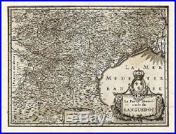 Antique Map-FRANCE-LANGUEDOC-SOUTH-REGION-Hondius-Janssonius-1636