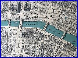 Antique Map-PARIS-DenoyerGeppert-RARE-Roll-Up 3D MadeFrance Blondel La Rougery