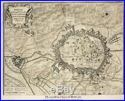 Antique Map- Plan -city Doway-douai- France- 1745