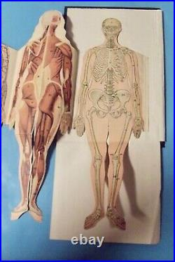 Antique Map Poster with Removable anatomical human body of Woman's 1922 system