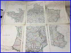 Antique Map of France French Europe Old Hand Coloured 19th Century LARGE Maps