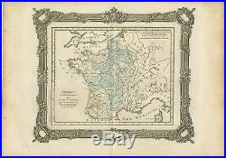 Antique Map of France after the death of Charlemagne by Zannoni (1765)