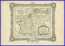 Antique Map of France and Western Europe by Zannoni (1765)