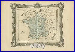 Antique Map of France at the end of the Ministry of Cardinal Richelieu