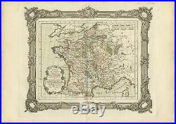 Antique Map of France in the 12th century by Zannoni (1765)