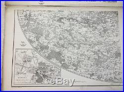Antique Map of Paris France Versailles City Plan 19th Century RARE LARGE MAPS