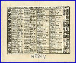 Antique Print-CHART-GOVERNMENT-FRANCE-DIVISION-COAT OF ARMS-Chatelain-1732