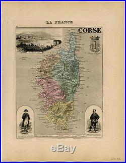 Antique Print-CORSE-CORSICA-AJACCIO-FRANCE-NAPOLEON-Vuillemin-Migeon-1884