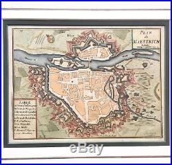 Antique Sebastien Pontault de Beaulieu Map of Maastricht, 1676 France Military