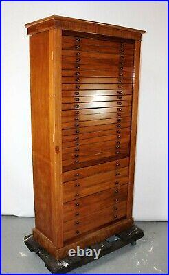 Antique Side Lock Map Cabinet Flat Document Chest File Fine Art Print Blueprint
