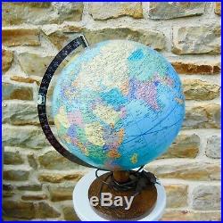 Antique World Map Light Globe Terrestrial Glass Design Taride Vintage 1990