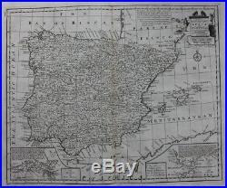 Antique atlas map SPAIN, PORTUGAL, BALEARIC ISLANDS, GIBRALTAR, E. Bowen 1747