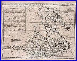 Antique map, Carte du Canada ou de la Nouvelle France
