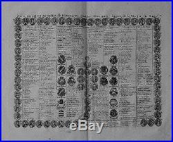 Antique map, Carte genealogique de rois de France