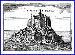 Antique map, Le Mont St Michel. Rare
