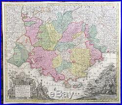 Antique map Provence France Isles Hyères Nice Toulon Marseille Camargue Seutter