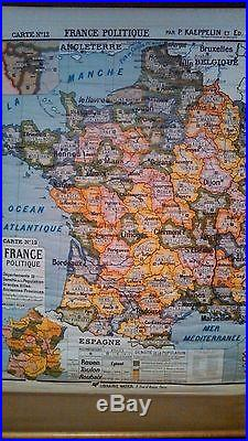 Antique vintage politique map of FRANCE From New York school librairie hatier