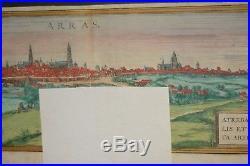 Arras France 1561 Hoefnagel RARE City scape Map 8x21 Inches