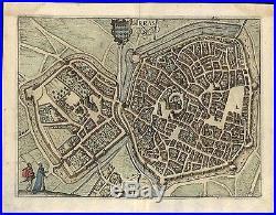 Arras France 1612 Blaeu Defensive Canals Bastions fine detail antique color map