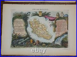 Authentic Antique 19th C. Maps-Provinces of France-Engravings-14x20-Set Of 6