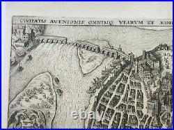 Avignon France 1635 Mathaeus Merian Unusual Antique Plan 17th Century