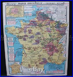 B552 French antique SCHOOL MAP FRANCE Industrial Mineral Stone Geology coal
