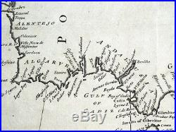 BAY OF BISCAY, Coasts of Spain, Portugal, France, R. W. Seale, antique map 1745